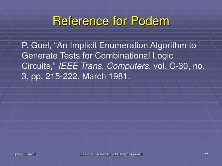 Reference for Podem