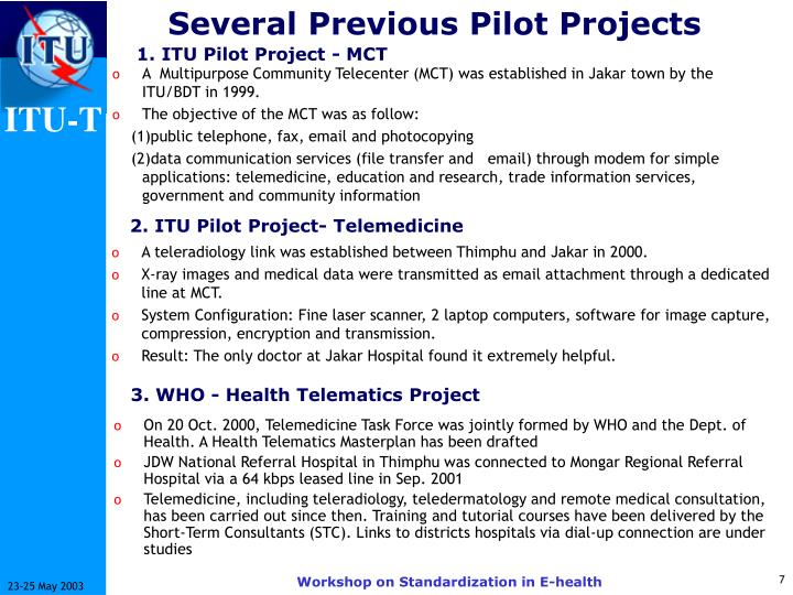 Several Previous Pilot Projects
