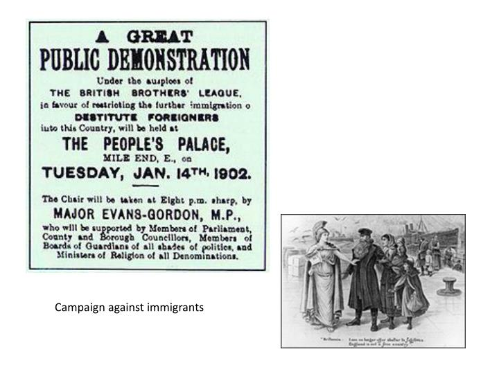 Campaign against immigrants