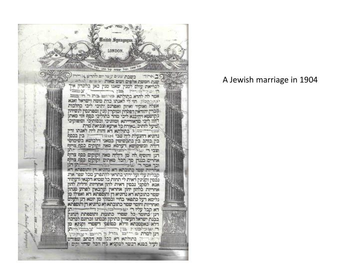 A Jewish marriage in 1904