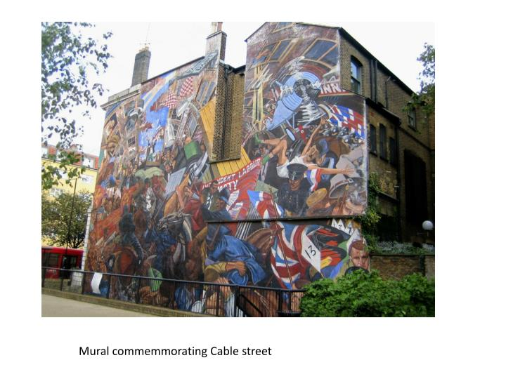 Mural commemmorating Cable street