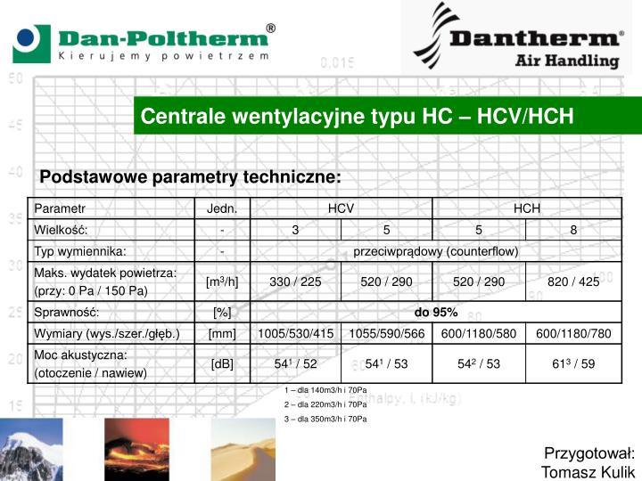 Centrale wentylacyjne typu HC – HCV/HCH