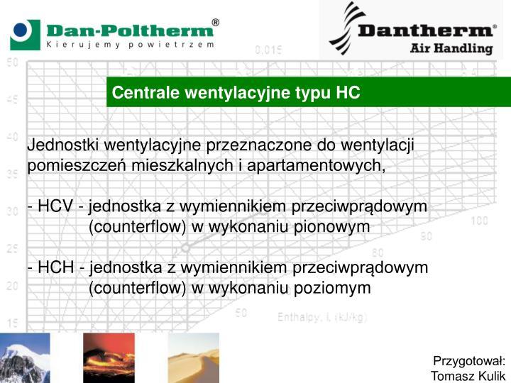 Centrale wentylacyjne typu HC