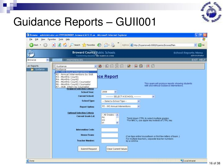 Guidance Reports – GUII001
