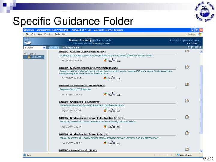 Specific Guidance Folder