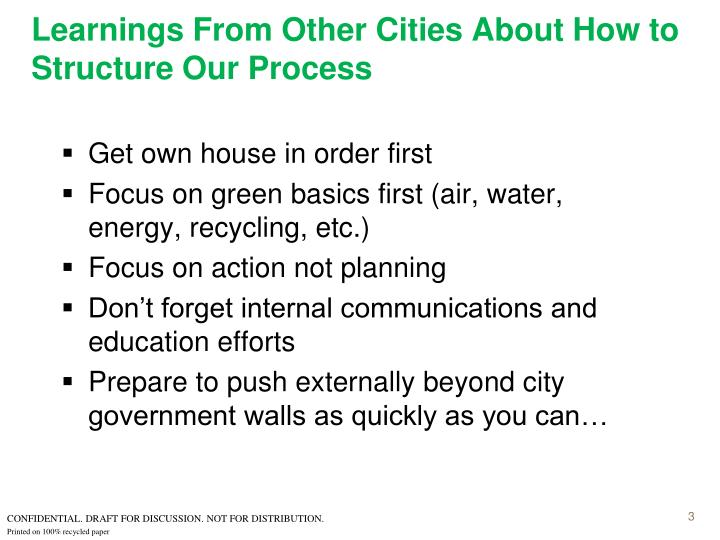Learnings from other cities about how to structure our process