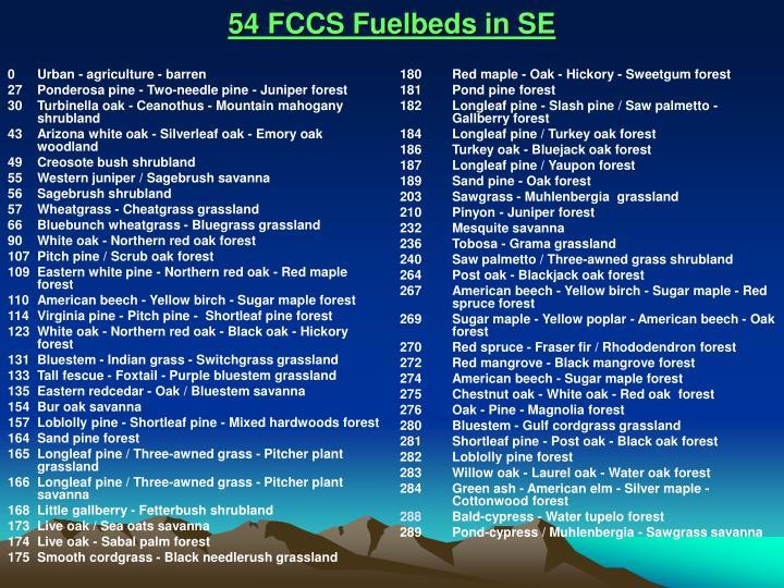 54 FCCS Fuelbeds in SE