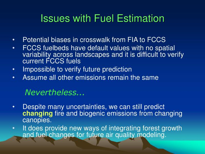 Issues with Fuel Estimation