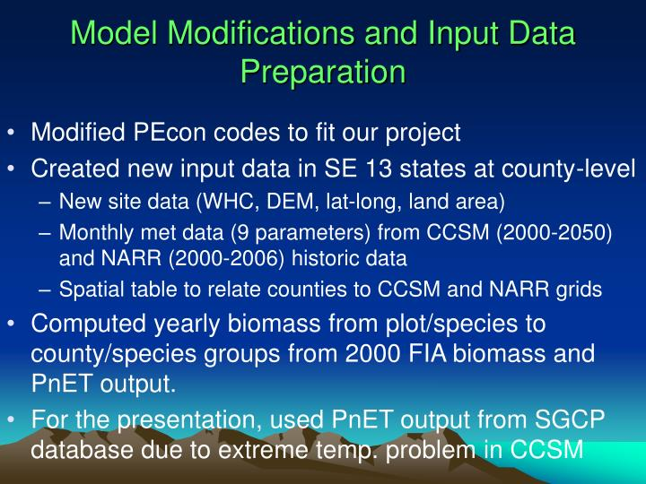 Model Modifications and Input Data Preparation