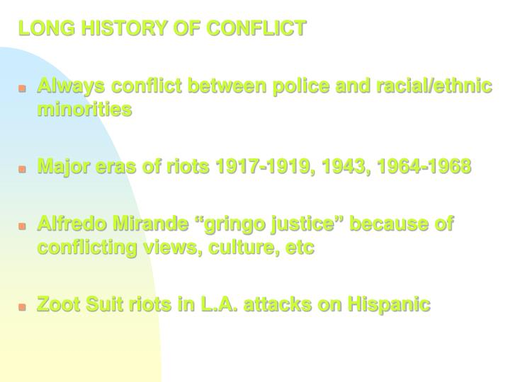 LONG HISTORY OF CONFLICT