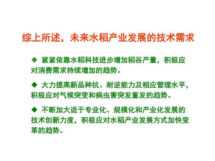 综上所述,未来水稻产业发展的技术需求