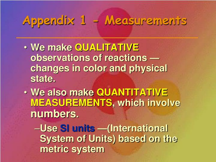 Appendix 1 measurements
