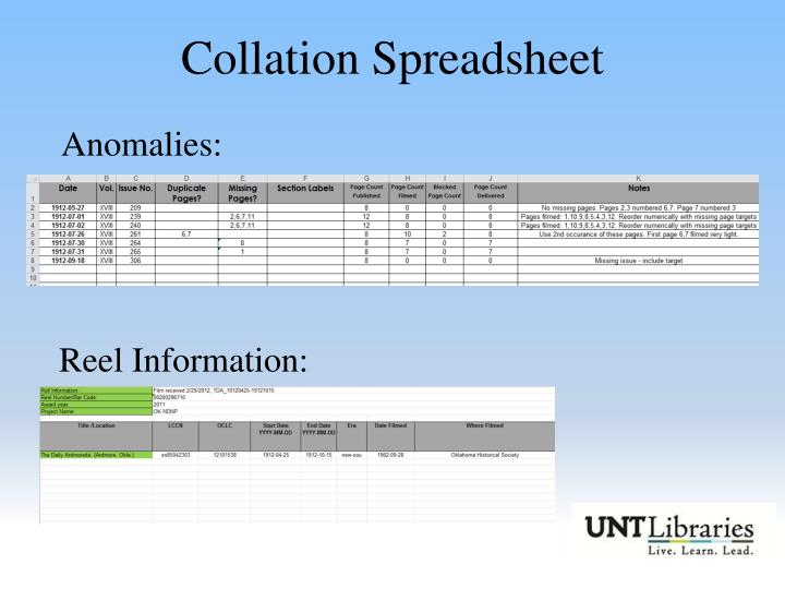 Collation Spreadsheet