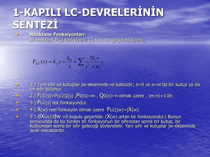 1-KAPILI LC-DEVRELERNN SENTEZ