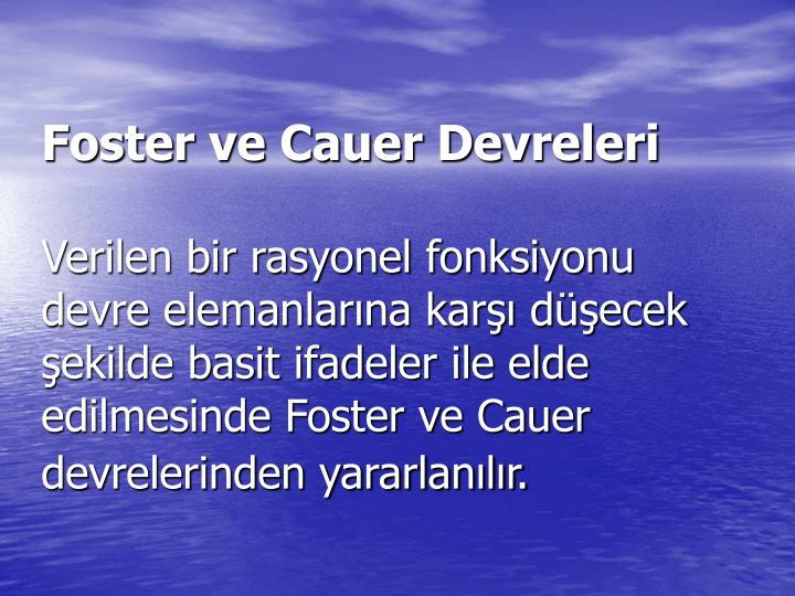 Foster ve Cauer Devreleri