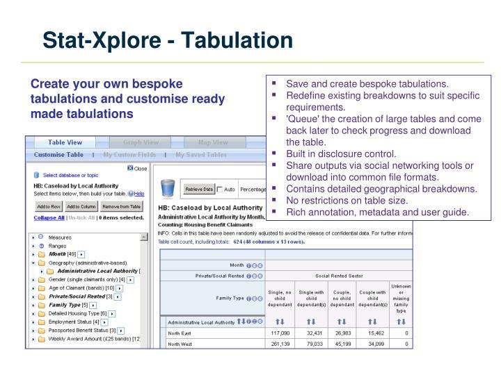 Stat-Xplore - Tabulation