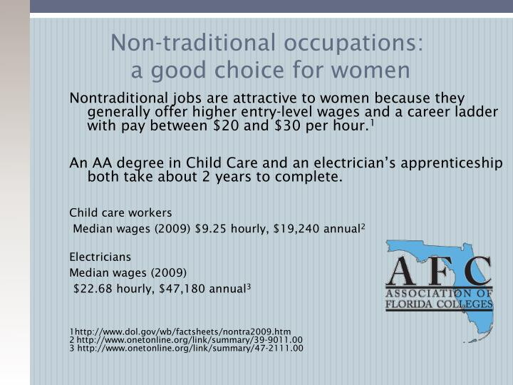Non-traditional occupations: