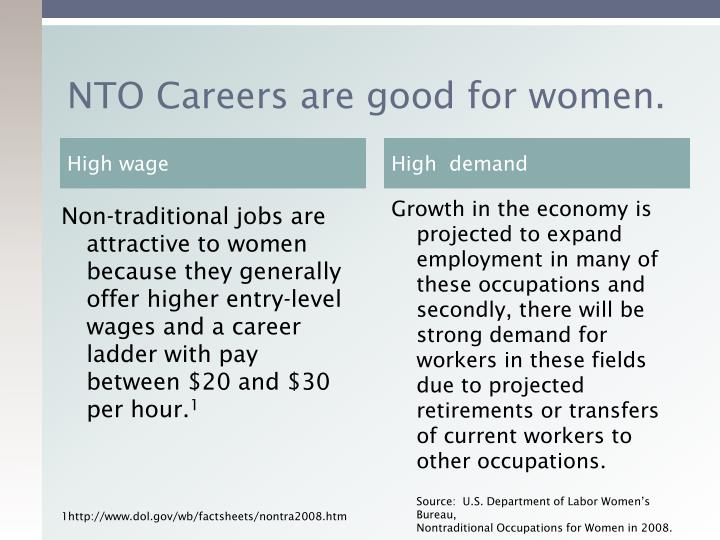 NTO Careers are good for women.