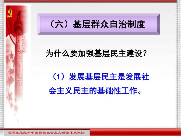 (六)基层群众自治制度