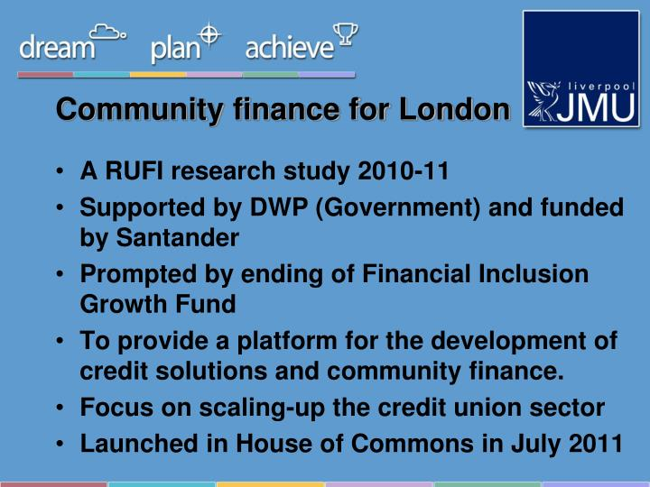 Community finance for london