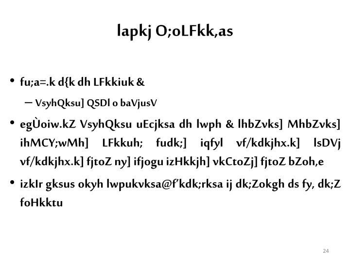 lapkj O;oLFkk,as
