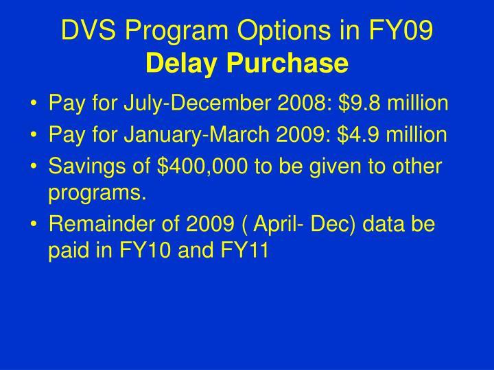 DVS Program Options in FY09
