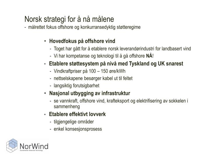 Norsk strategi for å nå målene