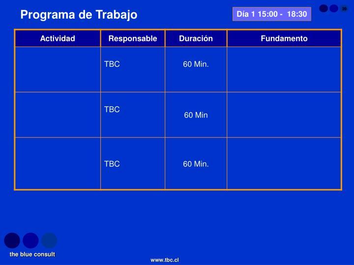 Día 1 15:00 -  18:30