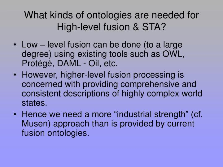 What kinds of ontologies are needed for High-level fusion & STA?