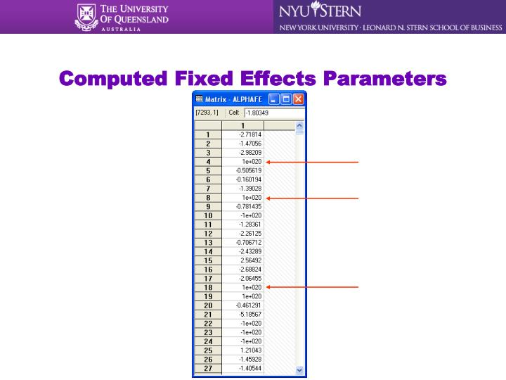 Computed Fixed Effects Parameters