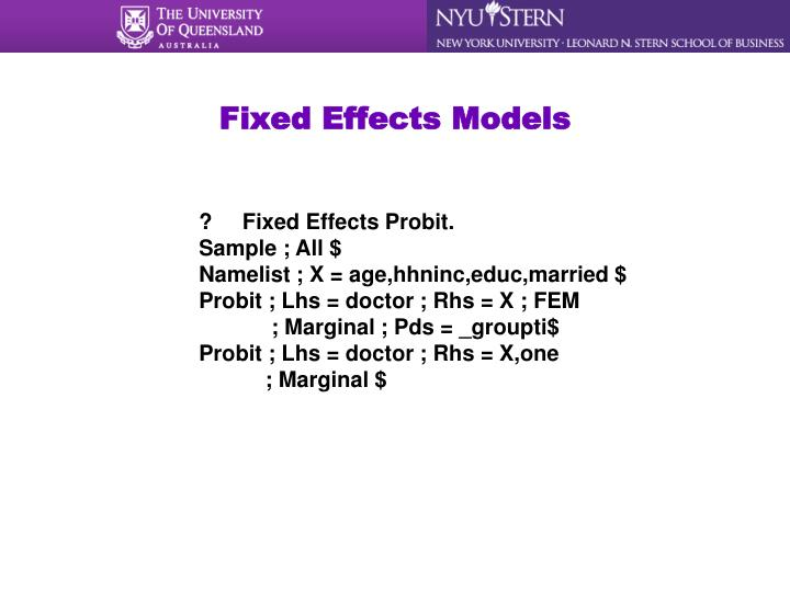 Fixed Effects Models