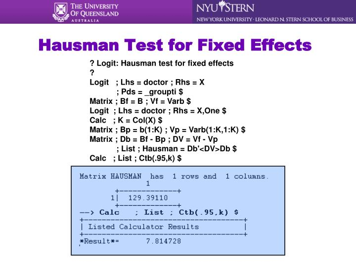 Hausman Test for Fixed Effects