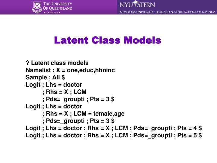 Latent Class Models