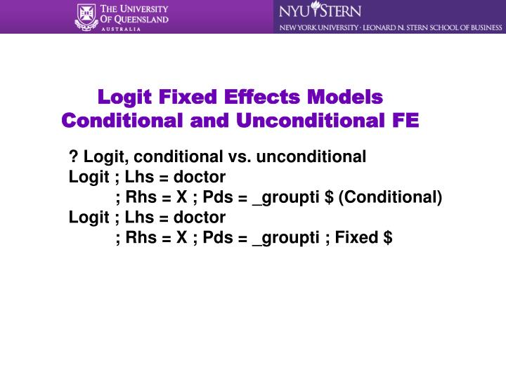 Logit Fixed Effects Models
