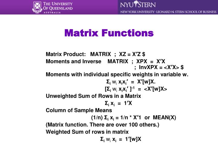 Matrix Functions