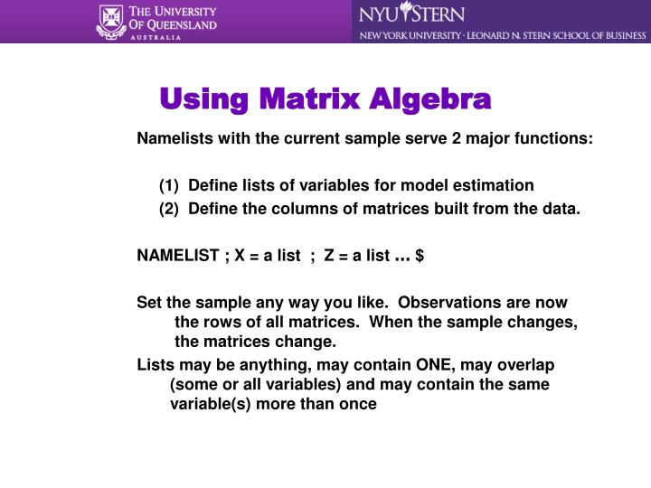 Using Matrix Algebra