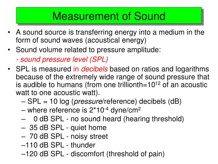 Measurement of Sound