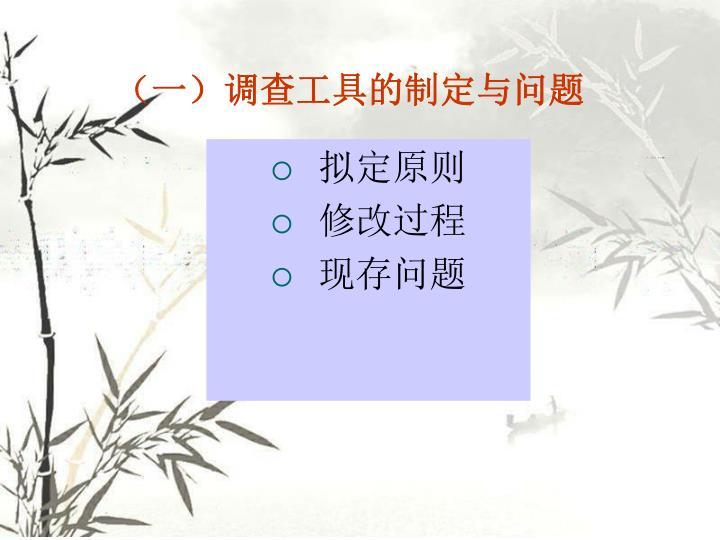 (一)调查工具的制定与问题