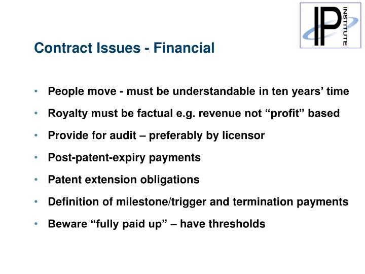 Contract Issues - Financial