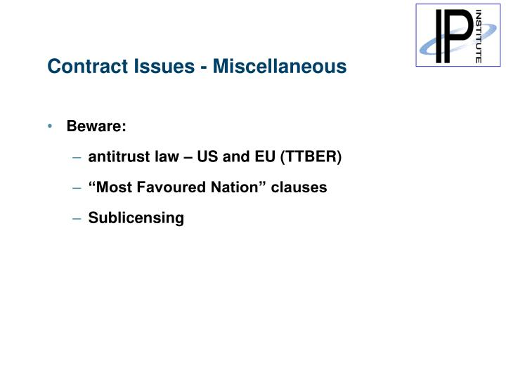 Contract Issues - Miscellaneous