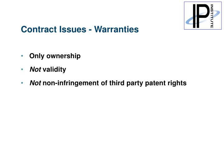 Contract Issues - Warranties