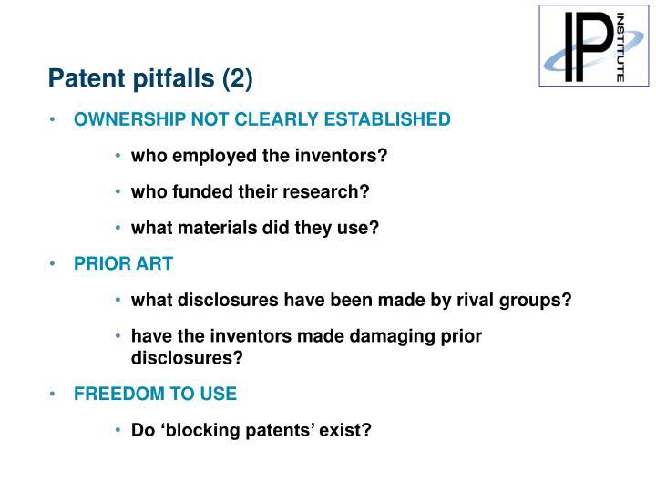 Patent pitfalls (2)