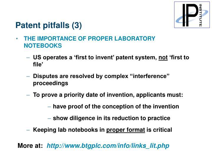 Patent pitfalls (3)