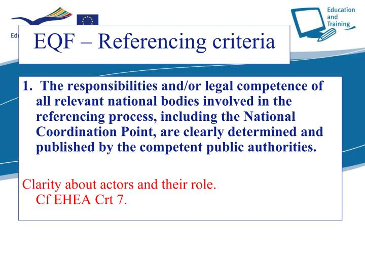 1.  The responsibilities and/or legal competence of all relevant national bodies involved in the referencing process, including the National Coordination Point, are clearly determined and published by the competent public authorities.