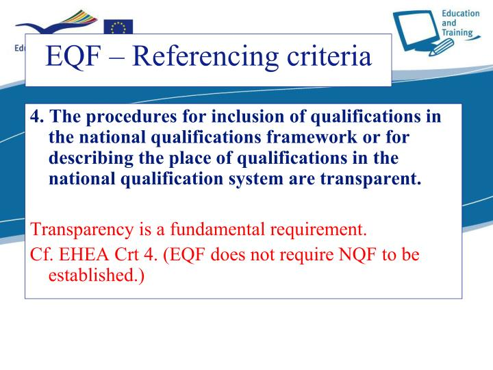 4. The procedures for inclusion of qualifications in the national qualifications framework or for describing the place of qualifications in the national qualification system are transparent.