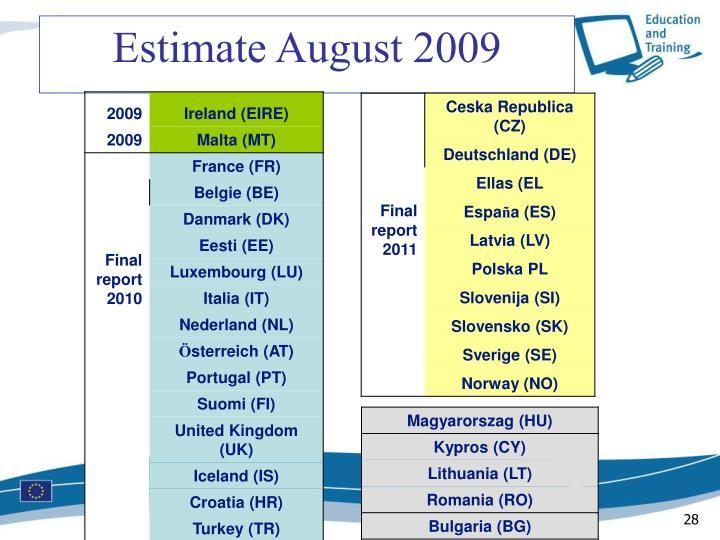 Estimate August 2009