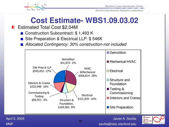 Cost Estimate- WBS1.09.03.02