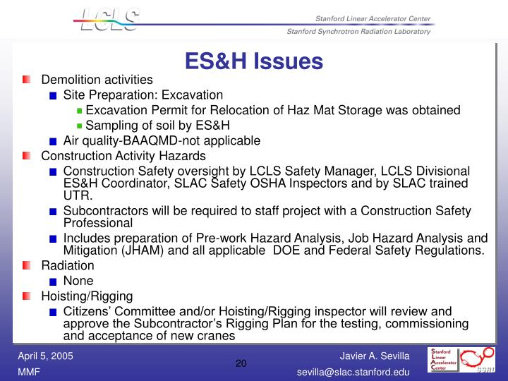 ES&H Issues