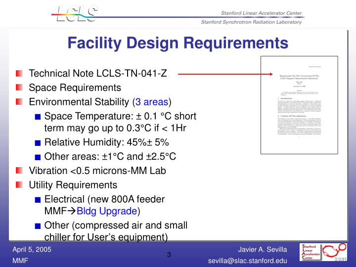 Facility design requirements