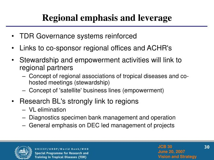 Regional emphasis and leverage